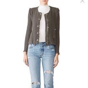 Iro Tweed Gray Agnette Blazer Jacket Button Snap